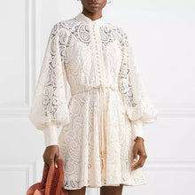 Load image into Gallery viewer, Ivory Paisley Lace Big Sleeve Belted Dress - BEYAZURA.COM