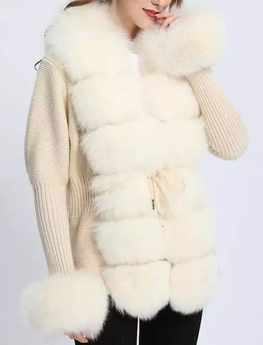 Beige Detachable Fox Fur Trimmed Ribbed Knit Sweater - BEYAZURA.COM