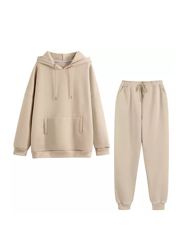 Beige Long Sleeve Top Hoodie and Jogging Pant Coord Set