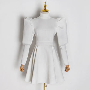 Exaggerated Shoulder Long Sleeve Flared Skirt Dress - BEYAZURA.COM