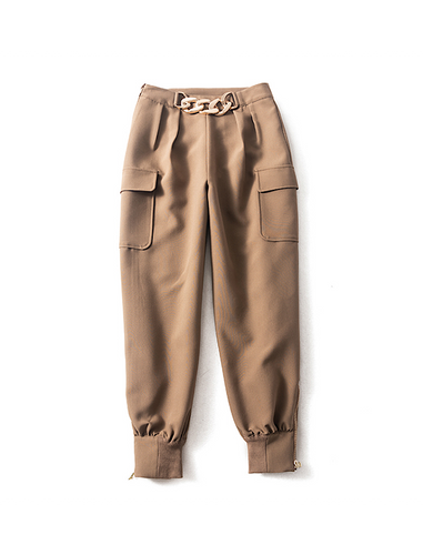 Brown Luxury Golden Chain Zippered Cargo Pants - BEYAZURA.COM