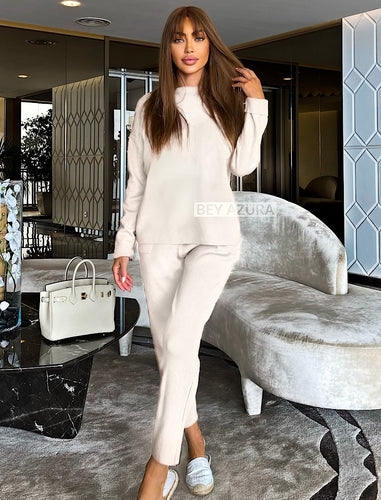 Ivory Knit Long Sleeve Top and Slim Trouser Two Piece Set