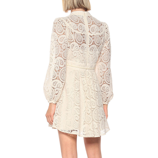 Beige Paisley Lace Big Sleeve Summer Dress - Beyazura.com