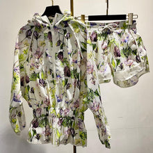 Load image into Gallery viewer, Sporty Flower Print Hoodie Jacket and Shorts Two Piece Set