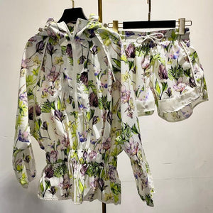 Sporty Flower Print Hoodie Jacket and Shorts Two Piece Set