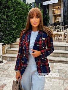 Red And Navy Tweed Blazer