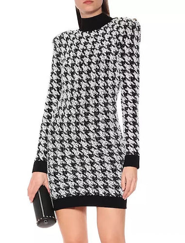 Houndstooth Tweed Knit Turtleneck Sweater Dress - BEYAZURA.COM