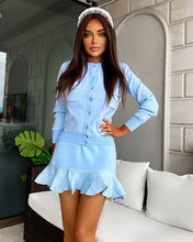 Load image into Gallery viewer, Ribbed Knit Flared Hem Bodycon Dress and Cardigan Two Piece Set in Blue - BEYAZURA.COM