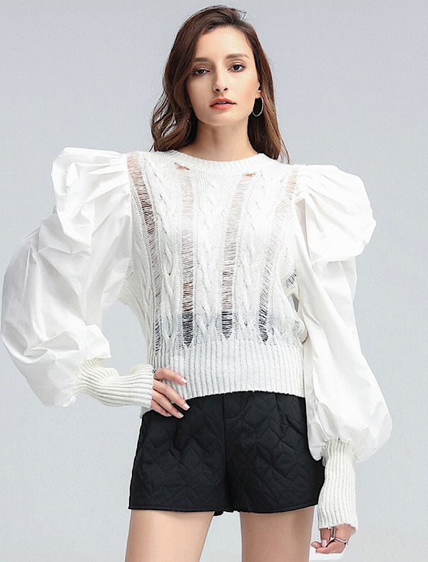 Big Ruched Shoulder Knitted Sweater - Beyazura.com