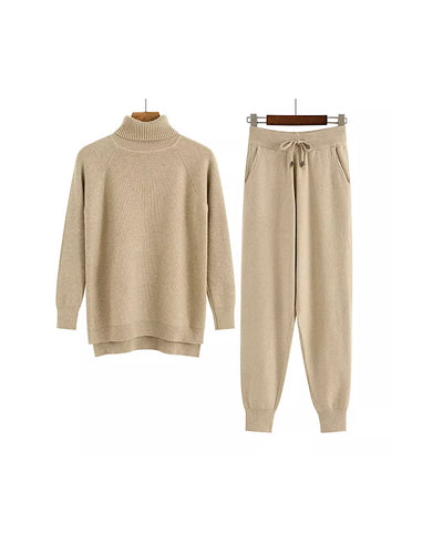 Brown Turtleneck Ribbed Long Sleeve Top and Jogging Pant Coord Set