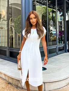 White Slim Shirt Sleeve Midi Zipper Front Dress - Beyazura.com