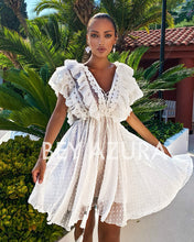 Load image into Gallery viewer, White Ruffle Top Dotted Short Dress - BEYAZURA.COM