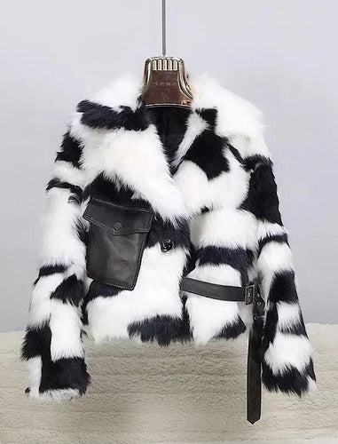 Tuscany Sheep Fur Leather Trimmed Coat - BEYAZURA.COM