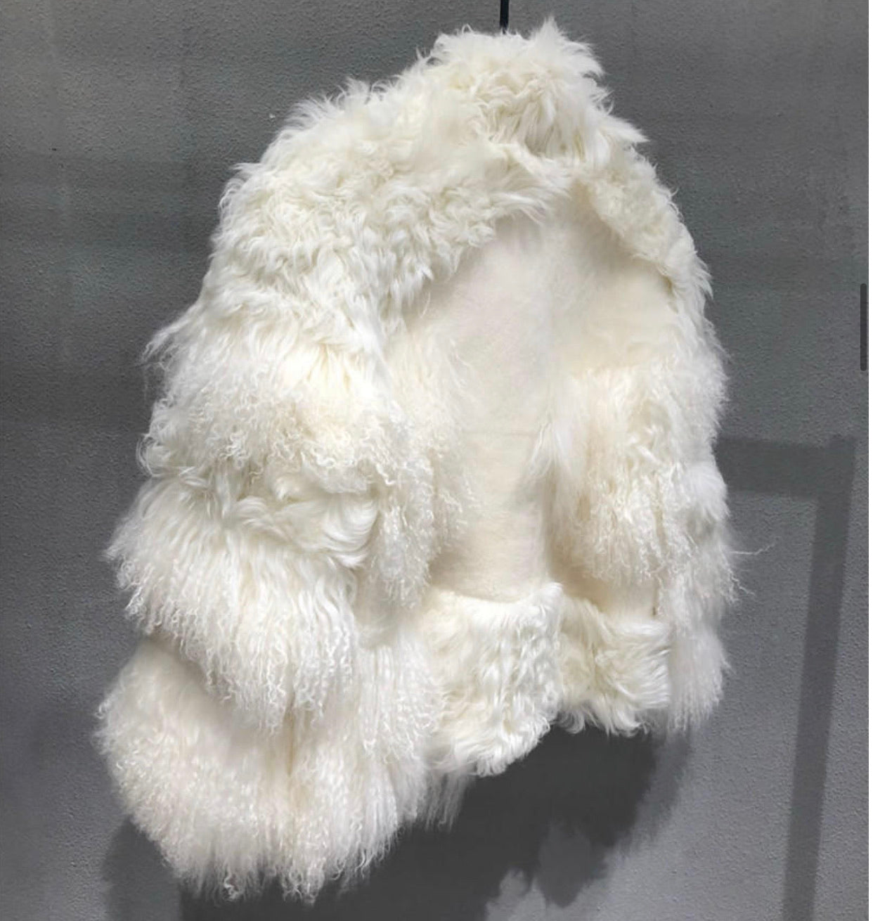 Oversized Lamb Fur Sheepskin Leather Coat - BEYAZURA.COM