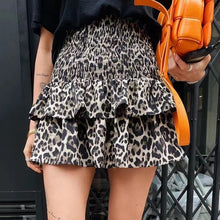 Load image into Gallery viewer, Leopard Print Mini Skirt With Shorts - BEYAZURA.COM