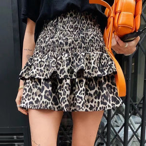 Leopard Print Mini Skirt With Shorts - BEYAZURA.COM