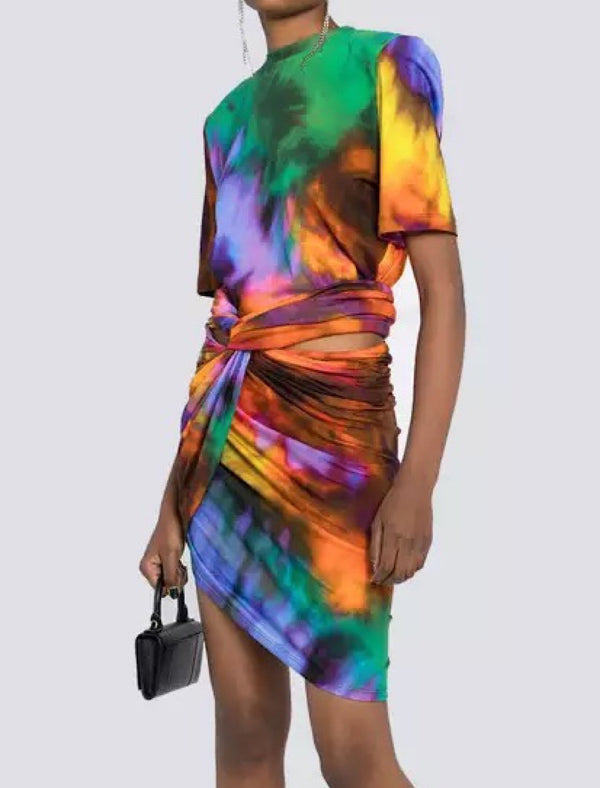 Abstract Printed Draped Bodycon Two Piece Set - Beyazura.com
