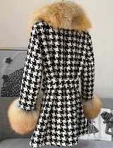 Midi Length Houndstooth Red Fox Fur Trim Belted Wool Jacket - Beyazura.com