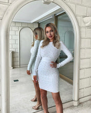 Load image into Gallery viewer, White Pearl Bandage Dress - BEYAZURA.COM