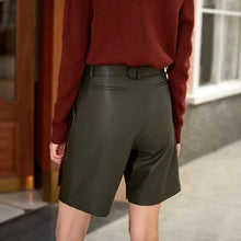 Load image into Gallery viewer, Vegan Leather Ruched Belted Shorts - BEYAZURA.COM