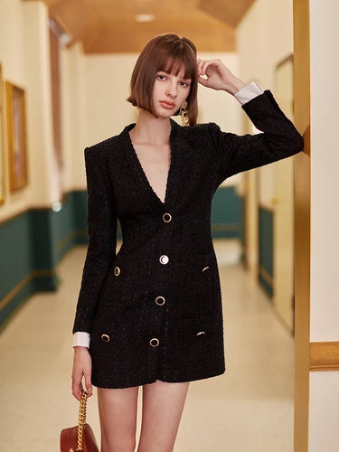Tweed Gold Buttoned Blazer Dress in Black - Beyazura.com