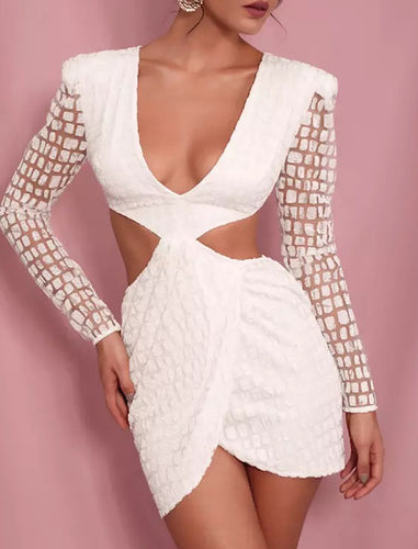 White Glitter Deep V Neck Open Back Playsuit - BEYAZURA.COM