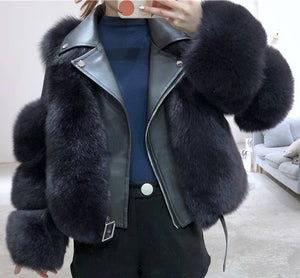 Striped Cut Fox Fur Trimmed Sheepskin Leather Biker Jacket - BEYAZURA.COM