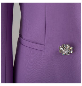 Purple Double Breasted Crystal Button Blazer Dress - BEYAZURA.COM