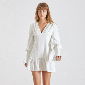 Ruffle Skirt Lantern Sleeve Short Dress - BEYAZURA.COM
