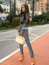 Load image into Gallery viewer, Houndstooth Long Sleeve Jacket and Pants Two Piece Set - Beyazura.com
