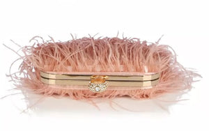 Pink Faux Feather Knuckle Ring Clutch - BEYAZURA.COM