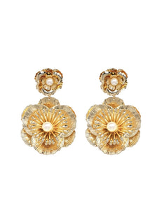 Gold Floral Metal Earrings - Beyazura.com