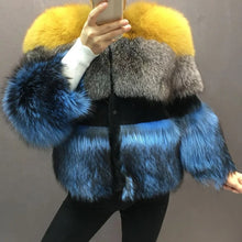 Load image into Gallery viewer, Three Color Fox Fur Coat - BEYAZURA.COM