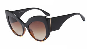 Thick Frame Cat Eye Sunglasses With Brown Lenses - BEYAZURA.COM