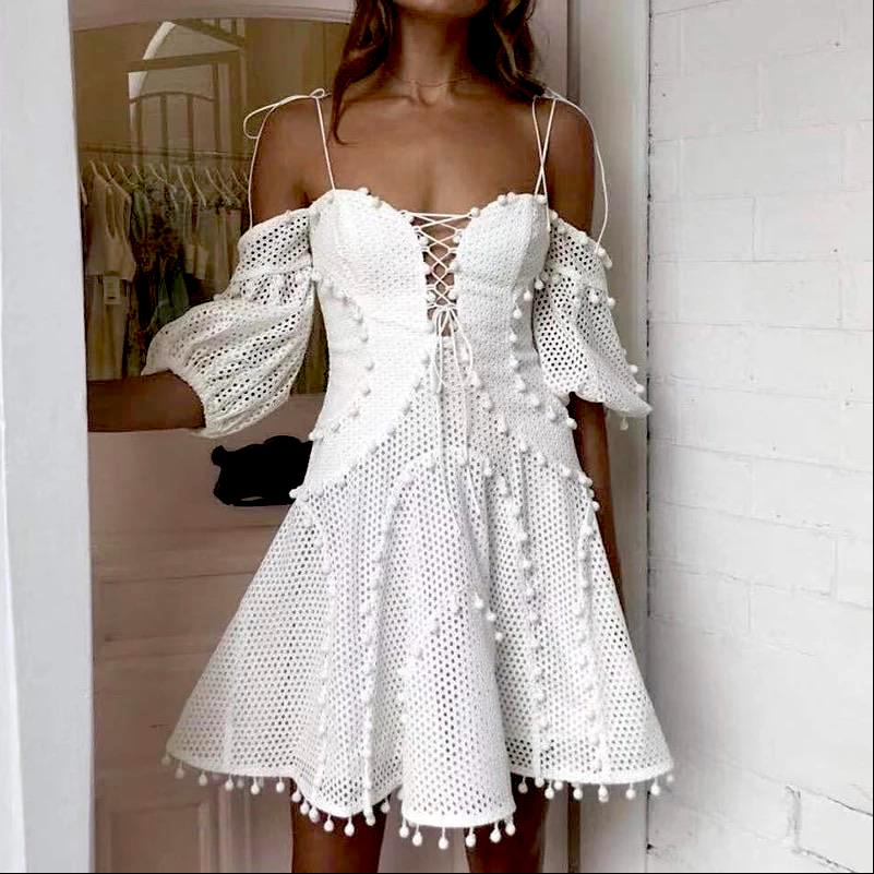 White Mesh and Pom Pom Panel Dress - BEYAZURA.COM