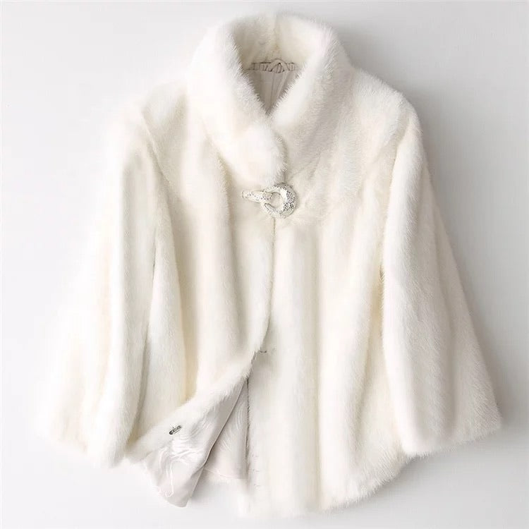GENUINE RUSSIAN MINK FUR CRYSTAL TRIMMED COAT - BEYAZURA.COM