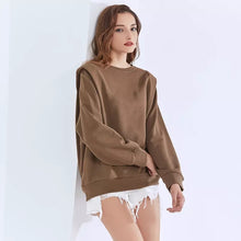 Load image into Gallery viewer, Brown Padded Shoulder Long Sleeve Knitted Pullover - BEYAZURA.COM