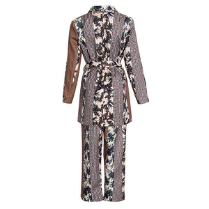 Silky Satin Multi Print Robe and Pants Two Piece Set - BEYAZURA.COM