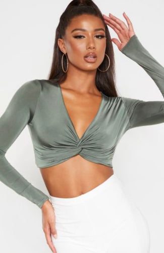 PLT Khaki Slinky Twist Front Long Sleeve Crop Top - BEYAZURA.COM