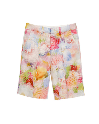 Multi Print Flower Print Long Shorts - BEYAZURA.COM