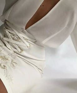 White Latex Floral Embroidered Front Lace Mini Skirt - Beyazura.com