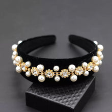 Load image into Gallery viewer, Lux Baroque Crystal And Pearl Black Headbands - BEYAZURA.COM