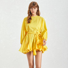 Load image into Gallery viewer, Ruffled and Frilled Skirt Belted Short Dress - BEYAZURA.COM