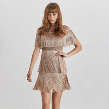 Load image into Gallery viewer, Three Layer Fringe Lux Mesh Dress - BEYAZURA.COM