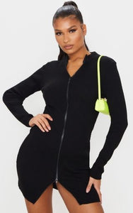 PLT Black Double Ended Zip Knitted Dress - BEYAZURA.COM