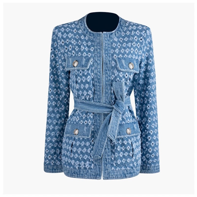 DENIM WORN OUT HOLLOW BELTED JACKET - BEYAZURA.COM