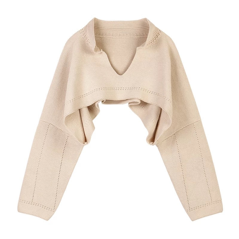 Beige Oversized Knit Raglan Sleeve Sweater - Beyazura.com