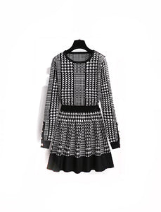 Houndstooth Knitted Long Sleeve Top and Elastic Waist Skirt Two Piece Set - Beyazura.com
