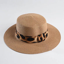 Load image into Gallery viewer, Brown Paper Straw Summer Hat With Leopard Ribbon - BEYAZURA.COM