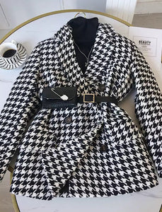 Houndstooth Long Sleeve Outerwear Belted Jacket